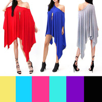 SEXY Oversized Sleeveless ONE SHOULDER Poncho Dress HIGH LOW WING DOLMAN TUNIC