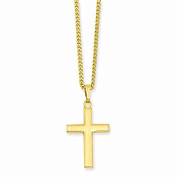 18in Gold-plated Medium Cross Necklace, Best Quality Free Gift Box Satisfaction Guaranteed