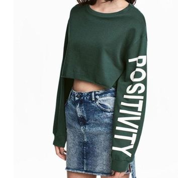 Letter Printed Cropped Sweatshirt