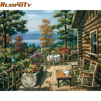RUOPOTY Garden DIY Painting By Numbers Modern Wall Art Handpainted Oil Painting On Canvas For Living Room Unique Gift Artwork