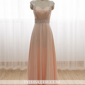 73832ffae75a Chiffon Wedding Dress/Bridesmaid dress/Prom Dress Beaded Cap Sleeves Dress