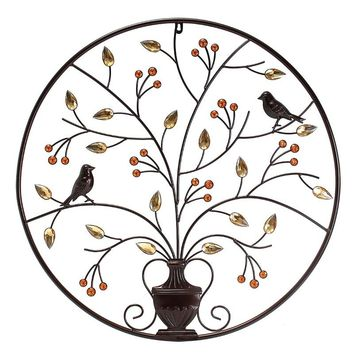 KiWarm VintageBlack Birds Tree Metal Iron Sculpture Ornament for Home Room Wall Hanging Decoration Art Crafts Gift 62cm/24.4inch