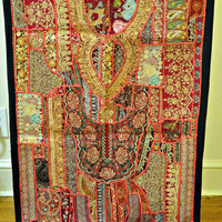 Vintage Wall Hanging Tapestry table runner  -  Indian Handmade Patchwork embroidered  kantha antique gypsy tribal textile banjara mirror