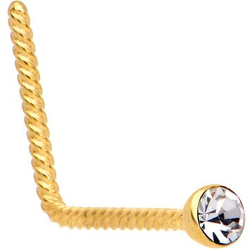 Clear 2mm Gem Inlay Gold IP So Twisted L Shaped Nose Ring