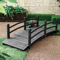 6-Ft Wooden Garden Bridge with Handrails in Charcoal Wood Stain