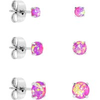 Pink Synthetic Opal Stainless Steel Post Stud Earring Pack of 3