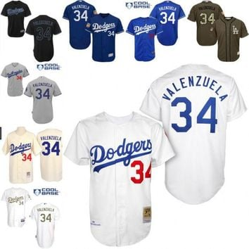 White 1955 Throwback Fernando Valenzuela Authentic Jersey , Men's #34 Mitchell And Ness Los Angeles Dodgers