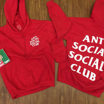 AntiSocial Social Club Hoodie in Red Hoodie / ASSC / Kanye West Anti Social  Cash Me Outside anti social club i feel like pablo