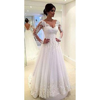 Vestido De Noiv V-Neck Appliques Long Sleeves Elegant Tulle A-Line Wedding Dress