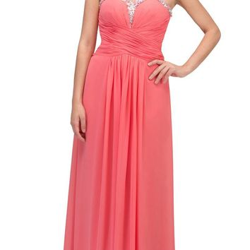 Studded Sweetheart Neck Coral Long A Line Prom Strapless Gown
