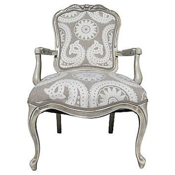 FREE SHIPPING French Victorian Parlor Arm Chair Upholstered Vintage Rustic Country Modern Chic White Wood Beach Earthy