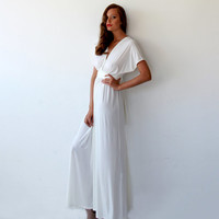Bat wings sleeves ivory dress, Curvy figure wedding dress, Beach wedding ivory dress