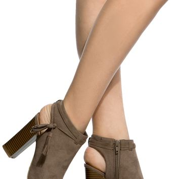 Taupe Faux Suede Cut Out Peep Toe Booties @ Cicihot. Booties spell style, so if you want to show what you're made of, pick up a pair. Have fun experimenting with all we have to offer!