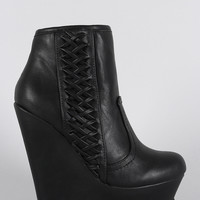 Bamboo Corset Round Toe Platform Wedge Booties