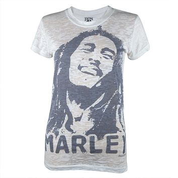 Bob Marley - Over-Dye Portrait Burnout Juniors T-Shirt