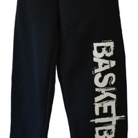 Basketball Sweatpants in Black with White Print