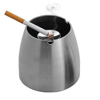Ashtray,LOYMR Stainless Steel Unbreakable Modern Ashtray , Cigarette Ashtray for Indoor or Outdoor Use, Ash Holder for Smokers, Desktop Smoking Ash Tray for Home office Decoration, Silver