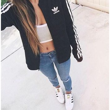 adidas women fashion unisex cardigan jacket coat