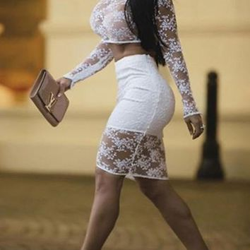 Casual White Plain Lace See-Through Long Sleeve Crop Top And Club Skirt