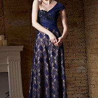 Dark Blue Grecian One Shoulder Lace Long Formal Prom Pageant Evening Dress | CX882156