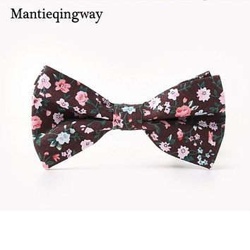 Men's Suits Floral Printed Cotton Bowtie Gentlemen Skinny Bow Tie Necktie Skinny Gravatas Slim Cravat Accessories