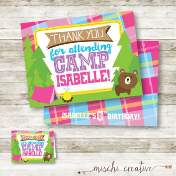 "Little Girls Camping, Outdoors and S'mores Birthday Party DIY Printable Folded Thank You Card - 3"" x 4"""