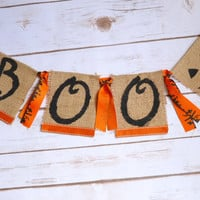 Halloween Boo Banner - Halloween Decor - Fall decor - Halloween Banner - Fall Banner - pumpkin banner - fall mantle decor - fall decor