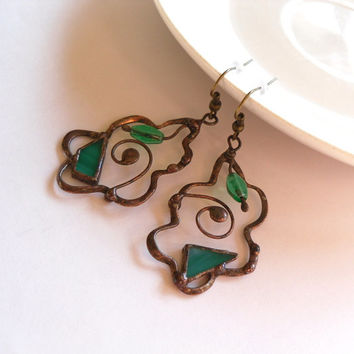 Copper wire earrings turquoise stained glass jewelry glass beaded dangle earrings