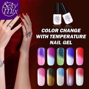 Sexy mix Temperature Color Changing Nail Gel Polish 7ml LED UV Gel Newest Long Lasting Hot Sale Gel Nail Lacquer Kit 25 Colors