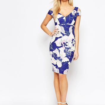 Paper Dolls Cold Shoulder Pencil Dress In Floral Print at asos.com