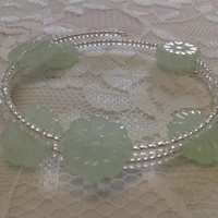 Sea Green and Clear Glass Bead Memory-Wire Bracelet