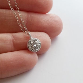 Dainty necklace • Silver circle bezel necklace • Druzy pendant necklace • Small silver necklace • Delicate silver necklace