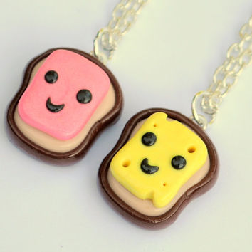 Kawaii Ham and Cheese Polymer Clay Best by PumpkinPyeBoutique