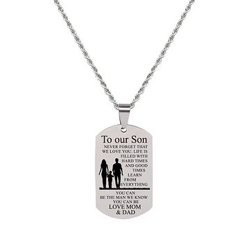 Sentiment Tag Necklace - TO SON FROM MOM AND DAD
