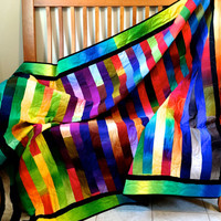 Modern Bright Quilted Lap Throw , Cottage Chic Ombre Fabrics , Rainbow Colors , Handmade Quilt For Sale - Fiber Art Wall Decor, Dorm Room