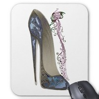 Rhapsody in Blue Stiletto Shoe Art Mouse Mat