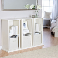 Modern Stacking Storage Unit Vertical Bookcase Bookshelf In Vanilla White Finish
