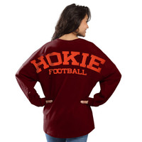 Women's Pressbox Maroon Virginia Tech Hokies Football Sweeper Long Sleeve Oversized Top