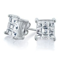 Bling Jewelry Mens Simulated Clear CZ Invisible Cut Sterling Silver Stud Earrings 6mm