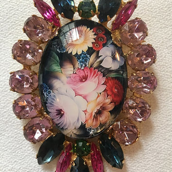 DiMARTINO ORIGINALS Colorful Rhinestone Floral Transfer Brooch Pin In Original Box!