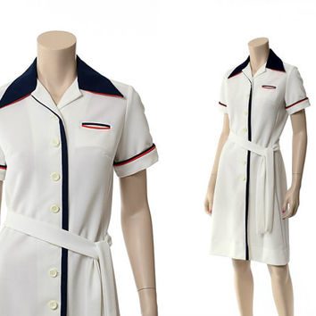 Vintage 70s David Crystal Scooter Dress 1970s Stewardess Red White and Blue Polo Shirtdress Tennis Preppy Shift