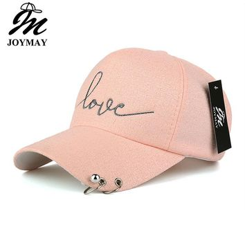 Trendy Winter Jacket JOYMAY  New arrival high quality snapback cap iron hoop bead on visor love embroidery hat for women baseball cap  B421 AT_92_12