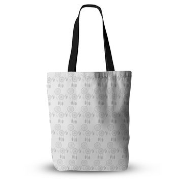 "Petit Griffin ""Dream Catchers Gray"" Gray White Everything Tote Bag"