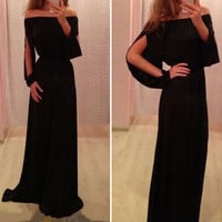 Black Off-Shoulder Cut-Out Sleeve Maxi Dress