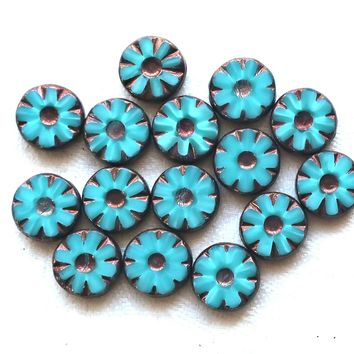 15  Czech glass flower, wheel or disc beads, table cut, carved, turquoise blue silk glass w/ bronze accents, daisy beads, 12mm x 4mm, C23101