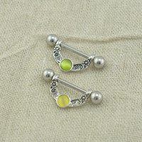 TWO nipple rings, cat's eye gemstones nipple rings nipple piercing