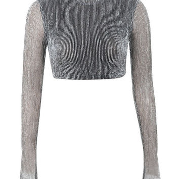 Clothing : Tops : 'Tamara' Silver Lurex Cropped Top