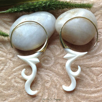 """Tribal Earrings, """"Magen"""" Natural, Bone, Brass Posts, Handcrafted"""