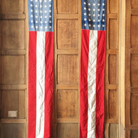 Vintage American Flag Banners, Pair of 8 FT Banners, Antique Flag, Everwear Bunting