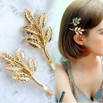 Hot 1 Pc Women Girl Trendy Popular Charming Golden Leaf Design Hairpin Hair Clip